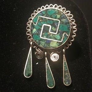 Sterling Silver Turquoise Inlay Pendant/Brooch